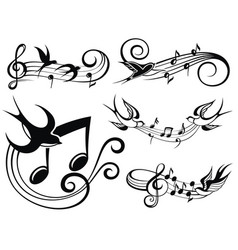 Musical set with swallows vector
