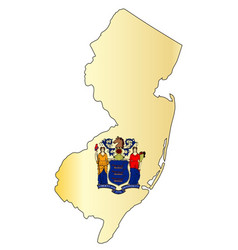 New jersey outline map and flag vector