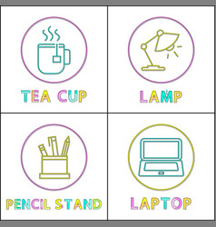office equipment round linear icons templates set vector image