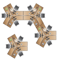 office Furniture workstation top view for interior vector image