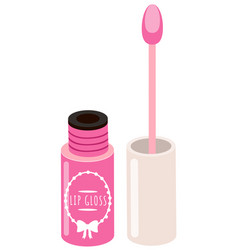 Opened pink lip gloss tube with a sponge brush vector