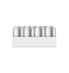 Pack with aluminium cans 330 ml mockup vector