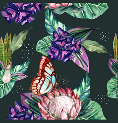 Pattern design with classis tropical theme vector