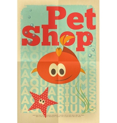 Pet shop poster fish vector