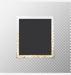 photo frame with confetti stars vector image