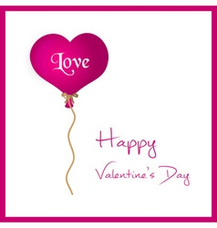Pink helium balloon heart shape valentine card vector