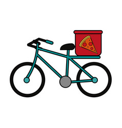 pizza bycicle flat vector image
