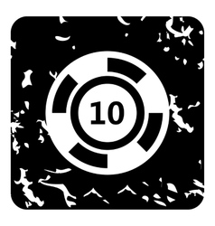 Playing counter icon grunge style vector