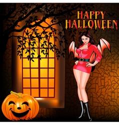 postcard on Halloween girl window vector image