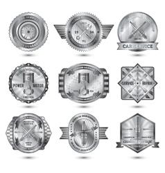Repair workshop metal emblems set vector