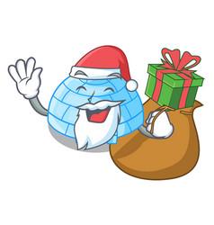 Santa with gift cartoon ice house igloo on snowing vector