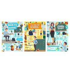 School student education and teacher tuition vector