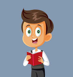 schoolboy holding book character vector image
