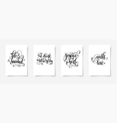 set 4 hand lettering posters on a white vector image