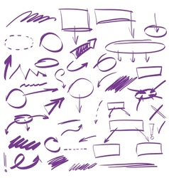 Set many hand-drawn arrows isolated vector
