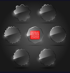 set of glass design elements vector image