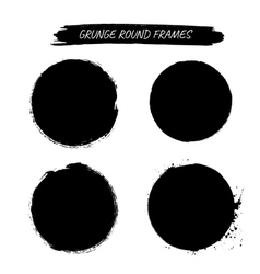 Set of grunge round frames vector