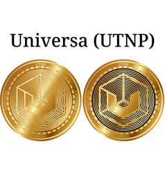 Set of physical golden coin universa utnp vector