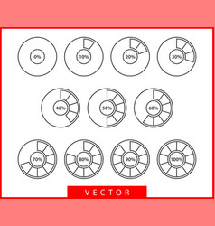 Set pie chart icons circle diagram collection vector