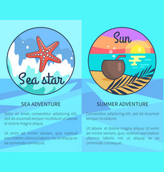 set sea and summer adventure posters vector image