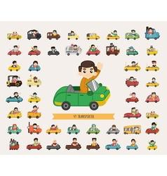 set transporter characters eps10 format vector image