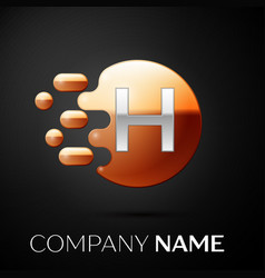 silver letter h logo gold dots splash and bubble vector image