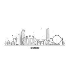 singapore skyline city buildings inear art vector image