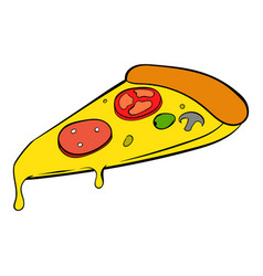Slice of pizza icon cartoon vector