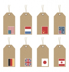 Tags with flags vector