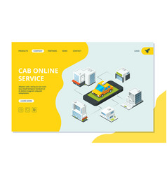 taxi landing website page with smartphone order vector image