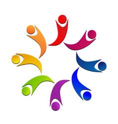 Teamwork colorful children logo vector