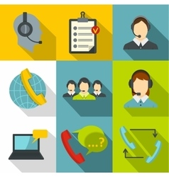 Technical support icons set flat style vector
