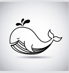 Tender cute whale card icon vector