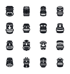 Tiki idol aztec hawaii icons set simple style vector
