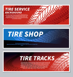 tire tread tracks banners motorcycle car and vector image