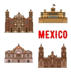 Tourist landmarks and sightseeings mexico vector