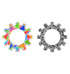 Triangle gearwheel mosaic icons vector