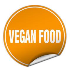 Vegan food round orange sticker isolated on white vector