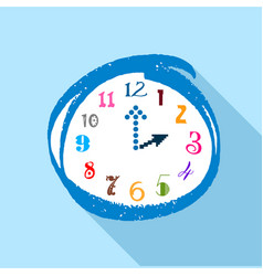 watch with multicolored numbers icon flat style vector image