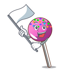 With flag lollipop with sprinkles mascot cartoon vector