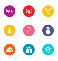 Yule icons set flat style vector