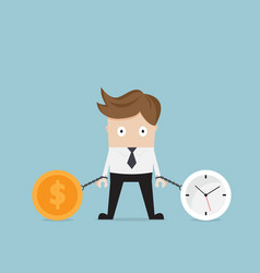 businessman gets chained with clock and money vector image vector image