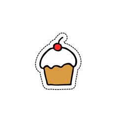 cupcake doodle icon vector image vector image