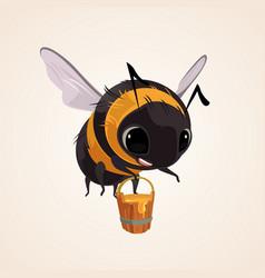 happy smiling flying bee character mascot vector image vector image