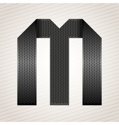 Letter metal ribbon - M vector image