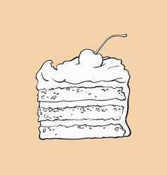 piece of layered cake with vanilla cream and vector image vector image