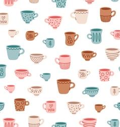 Cute mugs pattern vector image vector image