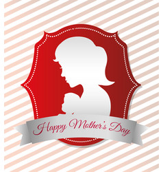 happy mothers day card with silhouette mom and vector image