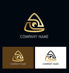 triangle gold technology logo vector image
