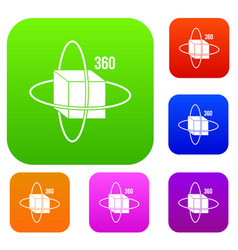 virtual cube set color collection vector image